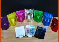 Plastic Ziplock Mylar Food Storage Bags , Stand Up Resealable Pouches