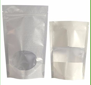 Clear White Brown Paper Bag With Window , Zipper Flat Bottom Pouches